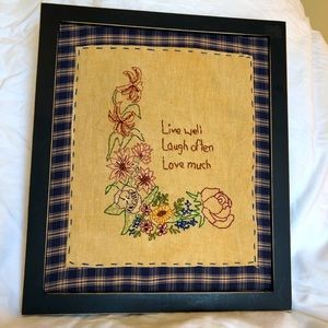 Vintage Embroidery Live Well Laugh Often Love Much
